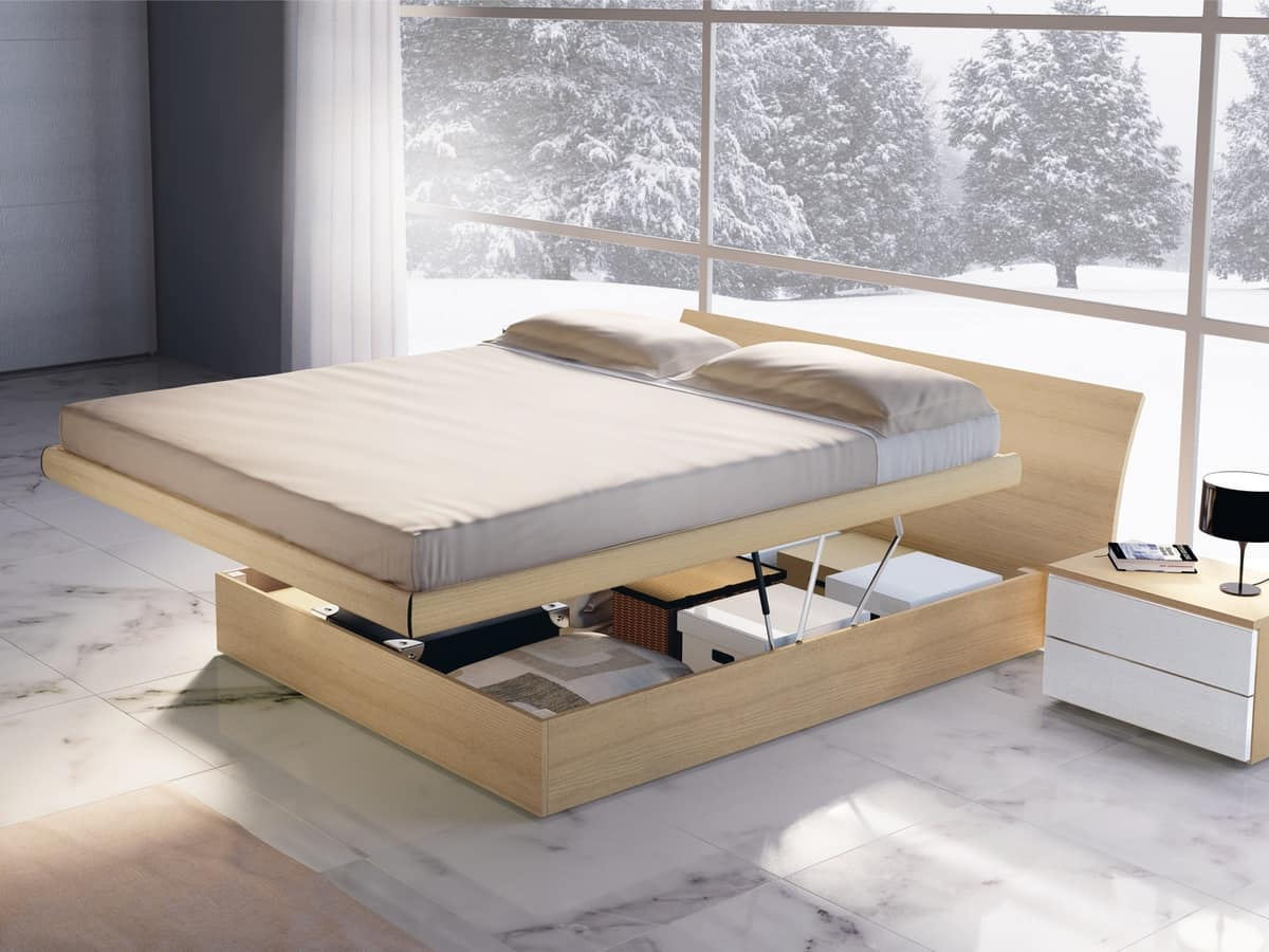letto legno con contenitore