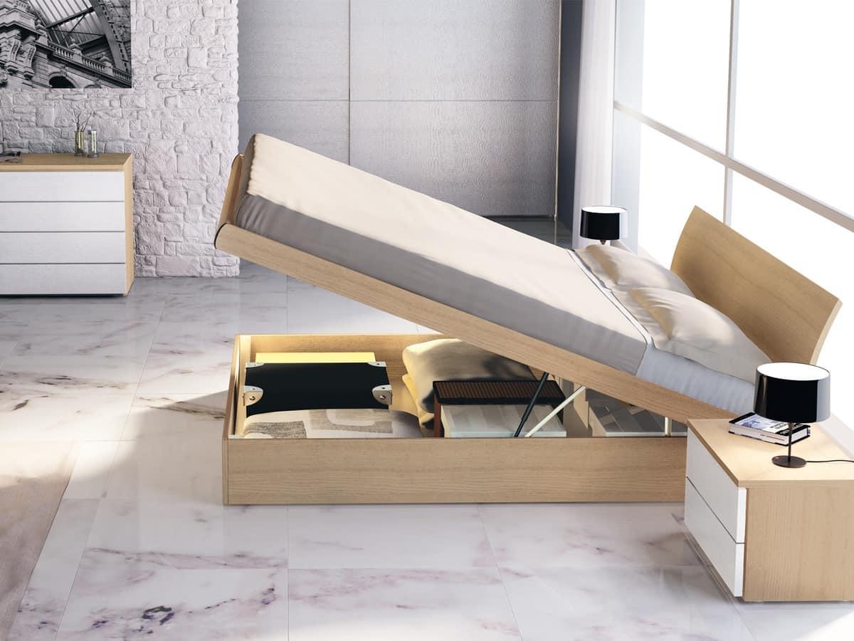 Letto matrimoniale in legno con contenitore idfdesign - Letto contenitore design ...