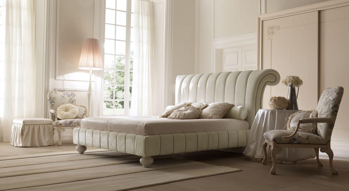 Charme 6090 letto, Elegante letto imbottito, rivestimento in pelle o tessuto, per camere classiche