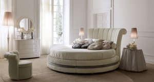 Luxury 5200 letto, Letto rotondo di lusso, imbottito e rivestito in pelle o tessuto, per suite d'albergo