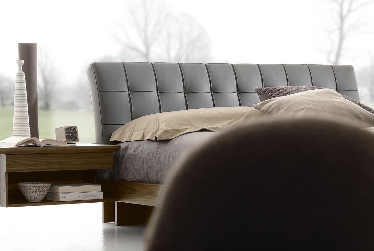 Letto design in legno con testata imbottita in pelle - Testata letto design ...