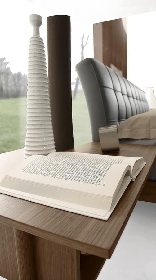 Letto design in legno con testata imbottita in pelle idfdesign - Testata letto in legno ...