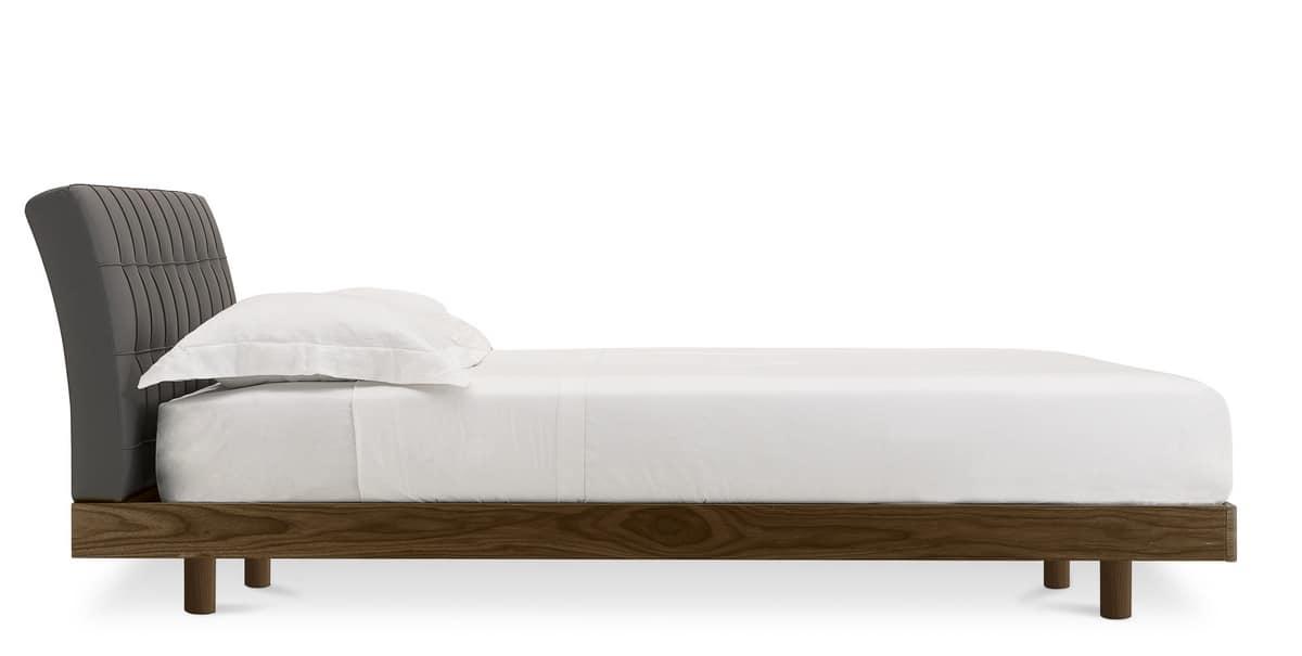 Letto design in legno con testata imbottita in pelle - Realizzare testata letto imbottita ...