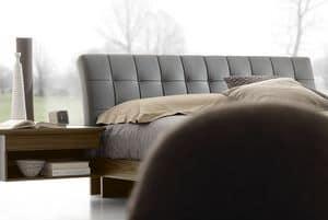 Nordik letto, Letto design in legno con testata imbottita in pelle