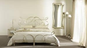 Ghirigori Gemellare letto, Letto gemellare in ferro piatto, lavorato a mano