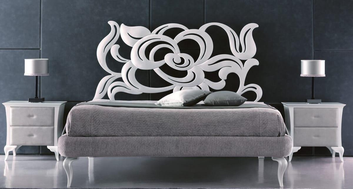 Megan Art. 950, Letto in ferro dal gusto decorativo con testata in ferro tagliato a laser