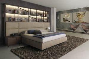 Bookcase, Letto design in legno con libreria e luci LED