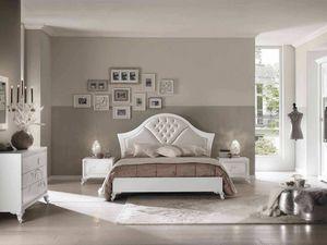 Camelia letto, Elegante letto in legno bianco