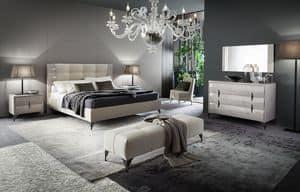 DUNE letto, Letto design imbottito in legno con effetto fris�