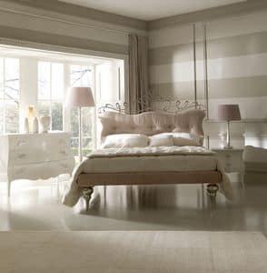 Glamour 6064 letto, Letto in ferro, rivestimento testata e gireletto in tessuto, dalle linee classiche
