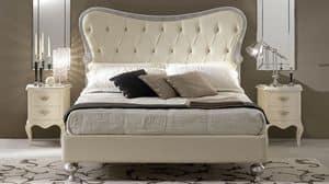 Hermes alto letto, Letto in legno intarsiato, testata imbottita capitonn�