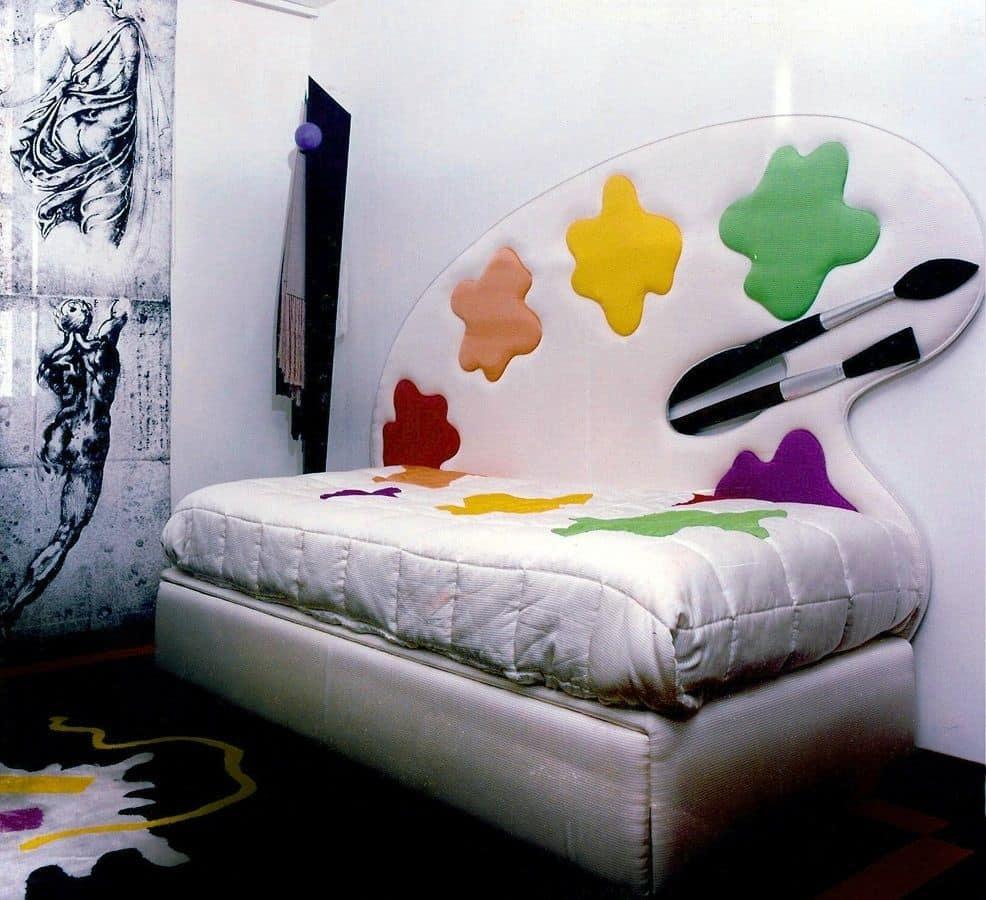 Letto Spirito Libero 3, Letto singolo con testata imbottita e decorata, ideale per stanza da letto per bambini