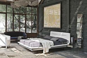 PANAREA BD445, Letto matrimoniale con testiera imbottita ideale per camere da letto moderne