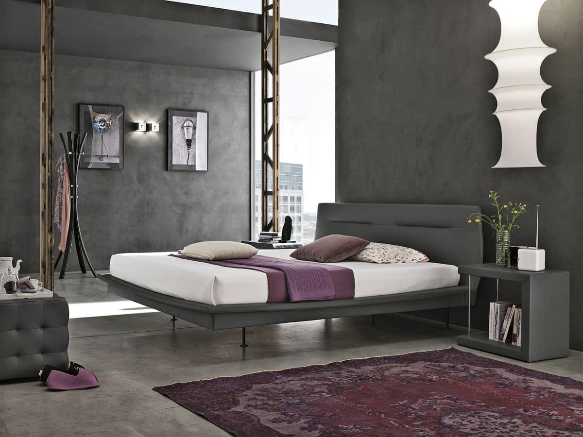 Letto matrimoniale con testiera imbottita ideale per camere da letto moderne idfdesign - Testiera letto imbottita ...