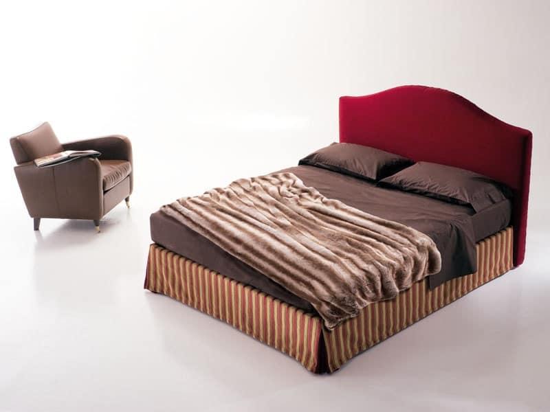 Regolo, letto imbottito, letto con box contenitore, letto classico Camera da letto