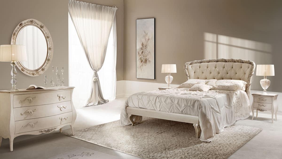 Rose letto, Letto matrimoniale in legno intarsiato, imbottito capitonn�