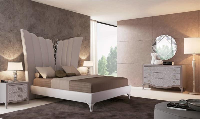 Letto imbottito letto in pelle letto lussuoso stanza da letto idfdesign - Camere da letto in pelle ...