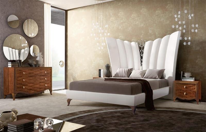 Letto imbottito letto in pelle letto lussuoso stanza da letto idfdesign - Stanze da letto particolari ...