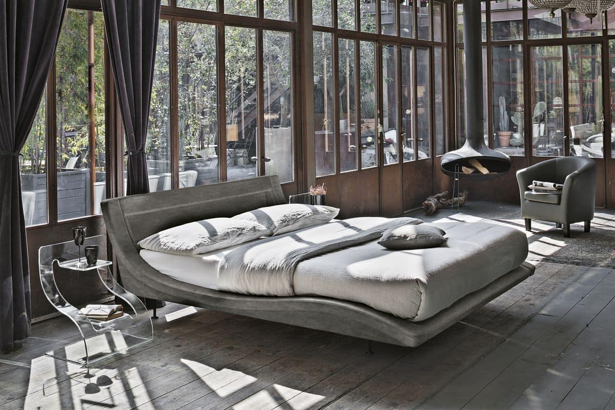 Letto matrimoniale moderno ideale per hotel e loft idfdesign for Letto moderno design