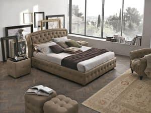 SICILIA BD448, Letto matrimoniale imbottito ideale per alberghi e camere da letto