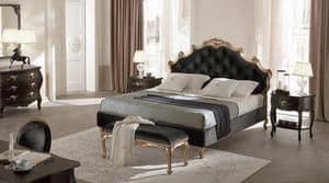 Sissi Capitonn� letto, Letto in legno massello, testiera e giroletto imbottiti