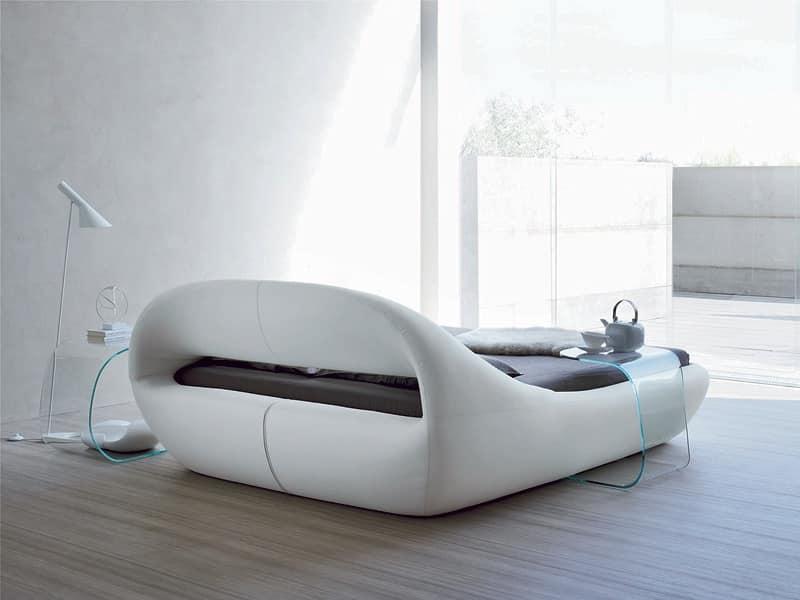 Elegante letto matrimoniale imbottito dalla forma for Letti in tessuto con contenitore