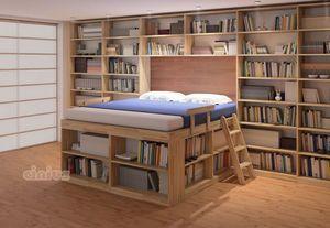 Biblioteca, Letto salvaspazio con scaffali