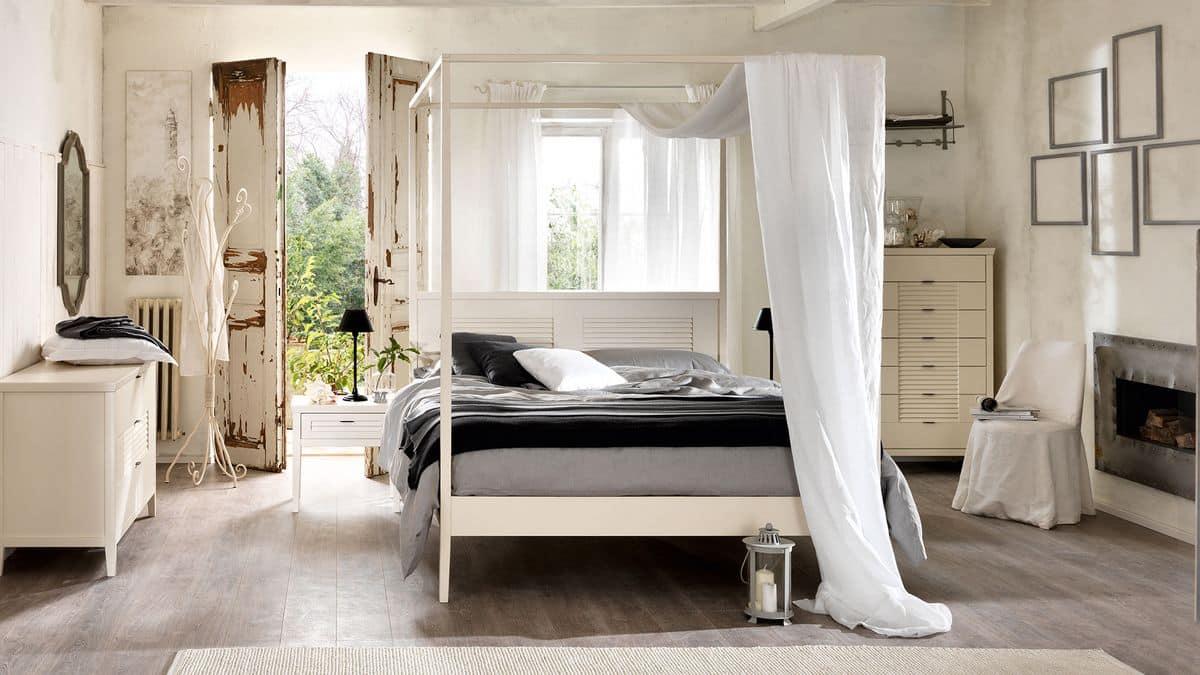 Ciro legno letto, Letto in legno massello, testata con motivo a persiana