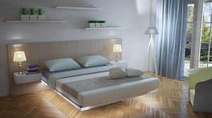 Floating, Letto austero, forma pulita e leggera, comodini integrati