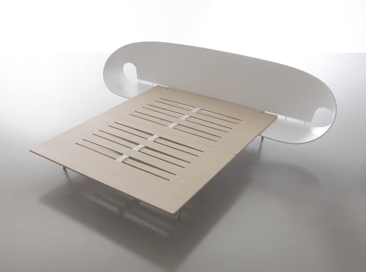 Letto con testiera in legno con piani comodini integrati - Testiera letto in legno ...