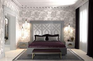 Intrigue letto con 3 pannelli verticali, Letto con testiera con 3 pannelli, con motivi geometrici