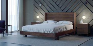 Ironwood letto Belt, Letto con testiera alta e giroletto in legno Eucalipto
