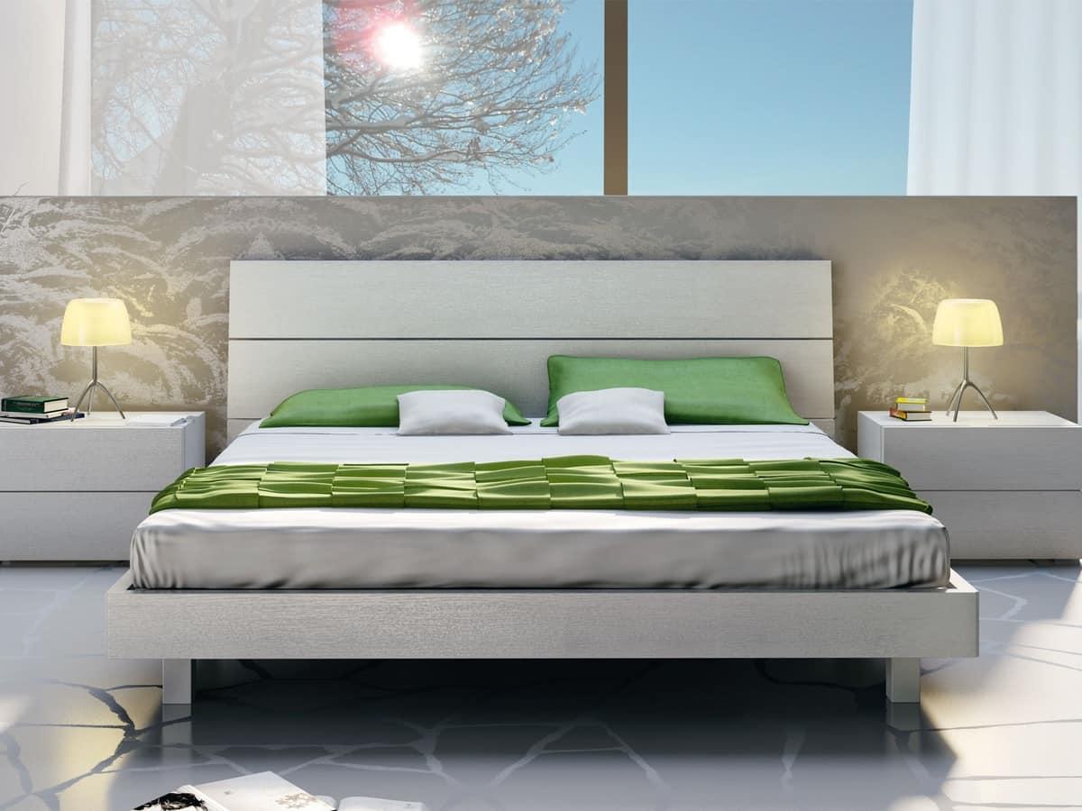 Letto Design 09, Letto matrimoniale in legno, in stile lineare