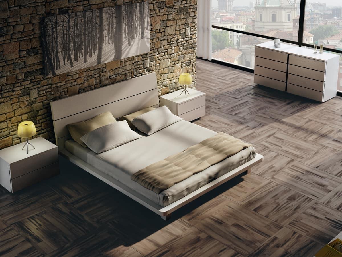 Letto matrimoniale in legno con finiture eleganti idfdesign for Letti moderni design
