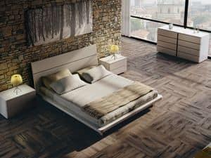 Letto Design 12, Letto matrimoniale in legno, con finiture eleganti