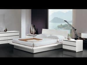 Letto Design 17, Letto matrimoniale, struttura in legno, in stile moderno