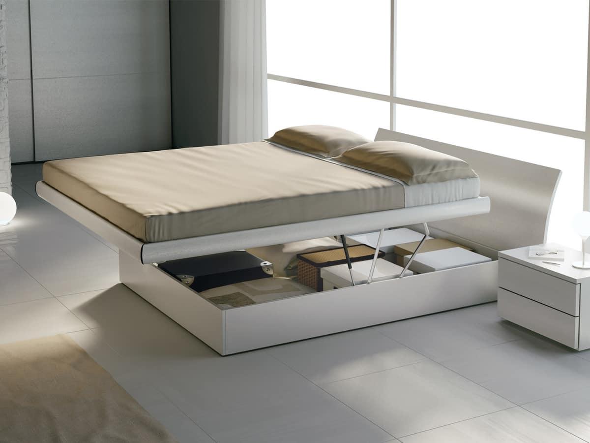 Letti Con Contenitore Design.Letto Matrimoniale In Legno Con Box Contenitore Idfdesign