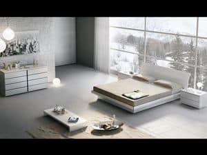 Letto Design 18, Letto matrimoniale in legno, con box contenitore