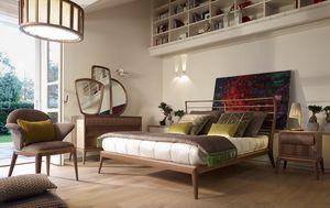 Ribot letto, Letto dalla testiera decorata con doghe orizzontali