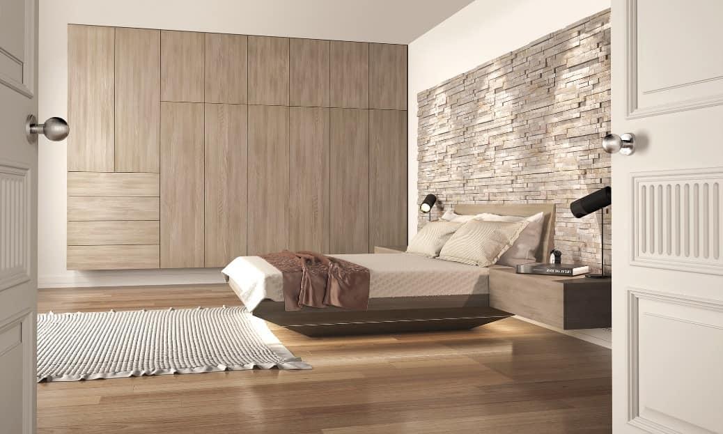 Letto in legno con testata in pietra idfdesign - Testiere letto moderne ...