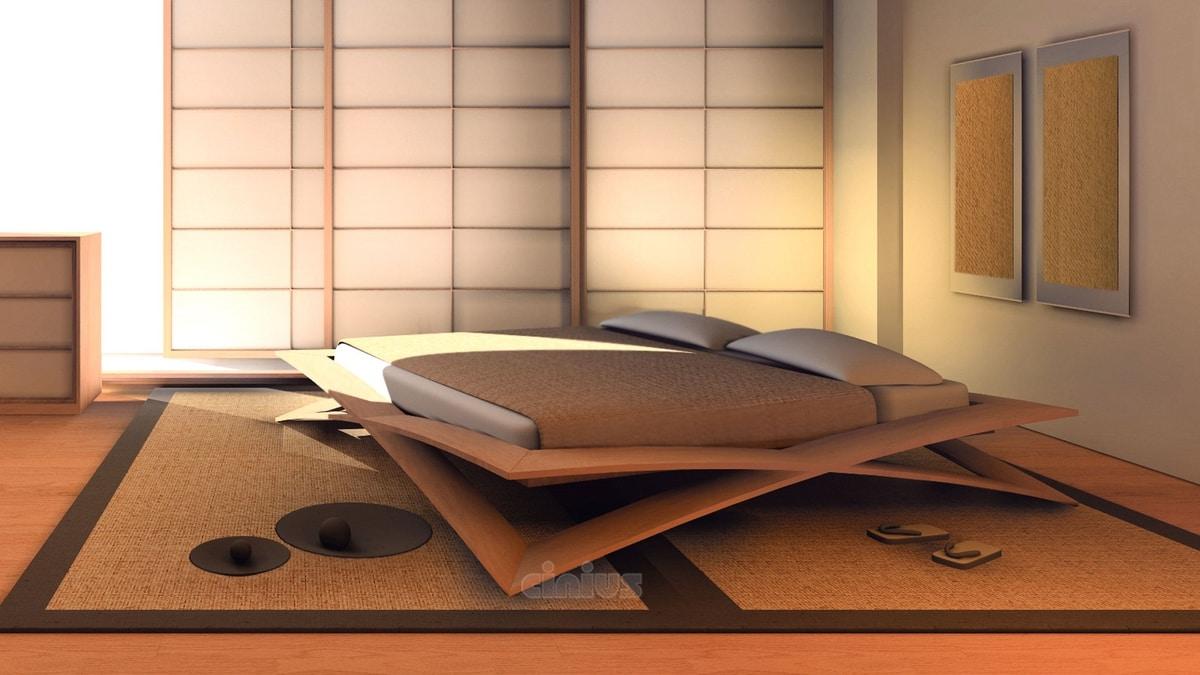 Letto Matrimoniale Giapponese.Letto Giapponese In Legno Di Ciliegio Idfdesign