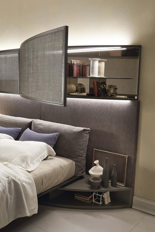 Letto con imponente testata imbottita con luci idfdesign - Testata letto design ...