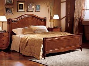 Alice letto legno, Letto matrimoniale in legno intagliato a mano, per Villa