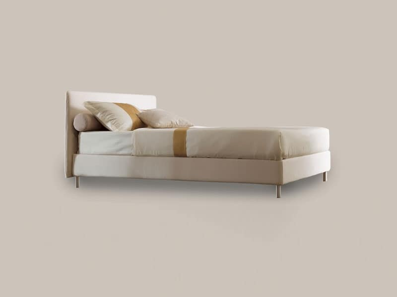 Letto singolo con struttura in legno piedini in alluminio - Letto contenitore singolo ...