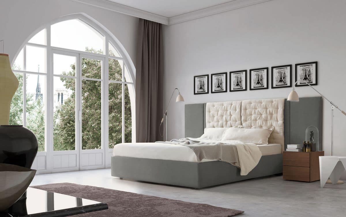 Testiera letto moderna imbottita per camere idfdesign - Camera da letto con boiserie ...
