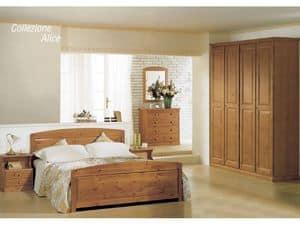 Collezione Alice Letto Matrimoniale, Letto in legno per baite e hotel in stile rustico