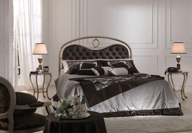 CRISTINA 1397 CG, Testata letto imbottita per camere da letto, testata letto con Swarovski per camere da letto classiche