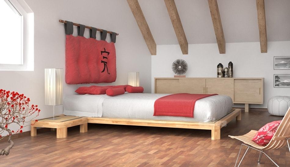 Letto in legno, stile giapponese   IDFdesign