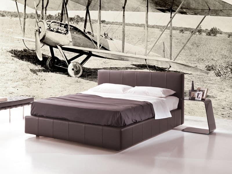 Gamma, letto con box contenitore, letto imbottito sfoderabile, letto moderno Camera hotel