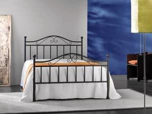 Giusy 120, Letto matrimoniale in metallo, per Camera da letto classica